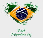 Brazil Independence Day Background. Abstract Grunge Brushed Watercolor Flag Of Brazil In Grunge Hear poster