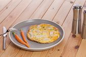 Simple Healthy Low-calorie Slimmer Meal. Chicken Omelette With Baby Carrots. Bland And Slightly Bori poster