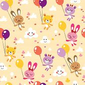bunnies and bears cute seamless pattern