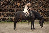 Horseback Riding. Sport, Activity, Entertainment. Girls Ride On Horse On Summer Day. Friend, Compani poster