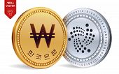 Iota. Won. 3d Isometric Physical Coins. Digital Currency. Korea Won Coin. Cryptocurrency. Golden And poster