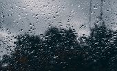 Rain Drops On Window Glasses Surface With Cloudy Background . Natural Pattern Of Raindrops Isolated poster