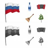 Russia, Country, Vodka, Accordion .russia Country Set Collection Icons In Cartoon, Monochrome Style  poster