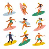 Surf Girls And Boys Surfing In The Sea Set 70s Style. poster