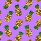 Bright Psychedelic Purple Seamless Pattern With Cartoon Pineapples. Doodle Summer Colorful Ananas Te poster