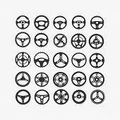 Set Of Different Steering Wheels On A White Background poster