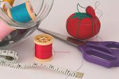 Sewing Thread, Tape, Scissors And Pin Cushion