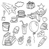 Set Of Hand Drawn Ink Doodle, Design Elements For Party Invitation Or Cute Background. Food, Star Sh poster
