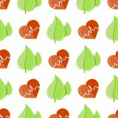 Seamless Pattern With Heart And Cardiogram Sign Near Green Organic Leaves Vector Illustration Isolat poster