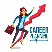 Business Woman Career Planning Vector. Fast Career Growth. Achieve Goal. Huge Red Arrow. More Profit poster