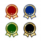 Ribbon Award Best Price Labels Set. Gold Ribbon Award Icons Isolated White Background. Best Quality  poster