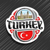 Vector Logo For Turkey Country, Fridge Magnet With Turkish State Flag, Original Brush Typeface For W poster