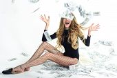 Beautiful Girl Win Lottery. Rich Woman. Happy Girl With Lot Of Money. Finance. Money. Saving Money C poster