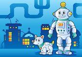 Robot theme image 4 - vector illustration.