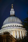 Dome Of St Pauls, City Of London, England, Uk, Illuminated In Evening Light