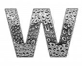 chrome alphabet symbol - letter W. Water splashes and drops on glossy metal. Isolated on white