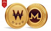 Monero. Won. 3d Isometric Physical Coins. Digital Currency. Korea Won Coin. Cryptocurrency. Golden C poster