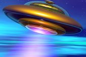 Golden Ufo In Terrestrial Atmosphere
