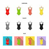 Different Kinds Of Swimsuits. Swimsuits Set Collection Icons In Cartoon, Black, Flat Style Vector Sy poster