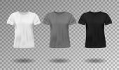 Black, White And Gray Realistic Male T-shirt With Short Sleeves. Blank T-shirt Template Isolated. Co poster
