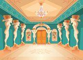 Vector Dancing Hall With Atlas Pillars. Interior Of Ballroom With Titan, Atlant Columns For Dancing, poster