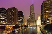 Chicago Skyline At Night, Chicago, Illinois, Usa. poster