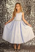 Small Model. Fashion Model On Silver Background, Beauty. Fashion Model Of Small Girl. poster