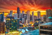 Chicago, Illinois, USA downtown city skyline at dawn. poster