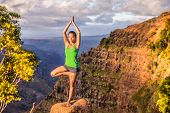 Yoga serene woman meditating doing tree pose Vriksasana on mountain nature landscape. Woman practici poster