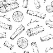 Wood, Burning Materials. Vector Sketch Illustration Collection. Materials For Wood Industry. Stump,  poster