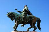 A Statue Of Janos Hunyadi On Szechenyi Square In Pecs, Hungary poster