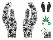 Care Hands Composition Of Marijuana Leaves In Variable Sizes And Color Hues. Vector Flat Marijuana O poster