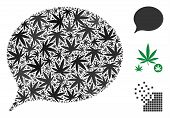Hint Collage Of Cannabis Leaves In Variable Sizes And Color Tones. Vector Flat Cannabis Leaves Are U poster