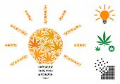 Light Bulb Composition Of Hemp Leaves In Different Sizes And Color Hues. Vector Flat Weed Leaves Are poster