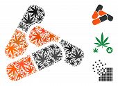 Pills Collage Of Hemp Leaves In Variable Sizes And Color Hues. Vector Flat Cannabis Elements Are Gro poster