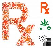 Prescription Symbol Collage Of Weed Leaves In Variable Sizes And Color Tinges. Vector Flat Weed Obje poster