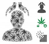 Psychiatry Hands Mosaic Of Weed Leaves In Different Sizes And Color Tinges. Vector Flat Weed Icons A poster