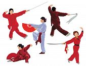 Five woman poses of practicing tai-chi. Color vector illustration.