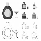 Liquor Chocolate, Champagne, Absinthe, Herbal Liqueur.alcohol Set Collection Icons In Outline, Monoc poster