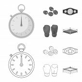Boxing, Sport, Stopwatch, Watch .boxing Set Collection Icons In Outline, Monochrome Style Vector Sym poster