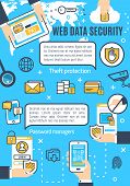Web Data Security In Internet And Online Secure Access Technology. Vector Poster Design Of User Secu poster