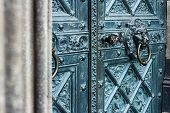 Bronze Door With Antique Brass Knocker In The Shape Of A Lion Head, Selective Focus poster