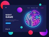 Night Games Concept Banner. Gamer Neon Sign, Can Use For Web Banner, Infographics, Website Template. poster