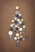 Christmas Button Tree on corduroy
