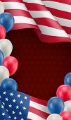 Usa Country Patriotic Background Template. Realistic Waving American Flag And Colorful Air Balloons. poster