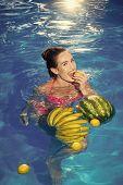 Vitamin Kit. Vitamin In Fruit At Girl Near Water. Vitamin And Healthy Organic Food. poster