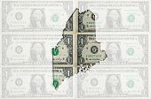Outline Map Of Maine With Transparent American Dollar Banknotes In Background