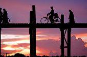 Myanmar, Amarapura, U Bein Bridge; Stunning Sundown From U Bein Bridge