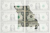 Outline Map Of Missouri With Transparent American Dollar Banknotes In Background