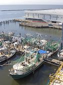 picture of katrina  - Shrimp boats work all night and rest in the daylight hours on the Mississippi Gulf Coast - JPG